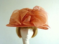 Sarah Cornell Ascot hat Coral Pink Swirls